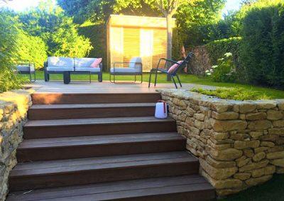 Escalier de terrasses en bois Ipe
